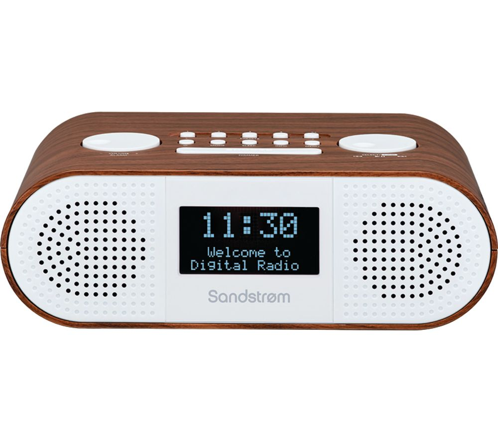 Image of SANDSTROM S-DBTW18 DABﱓ Bluetooth Clock Radio - Wood