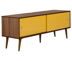 OUTLINE Retro 1400 mm TV Stand - Walnut & Yellow