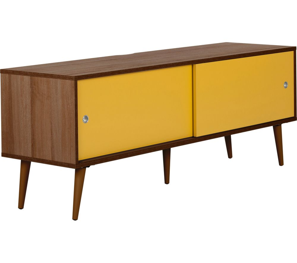 Image of OUTLINE Retro 1400 mm TV Stand - Walnut & Yellow, Yellow