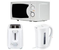 ESSENTIALS Solo Microwave, 2-Slice Toaster & Jug Kettle Bundle - White