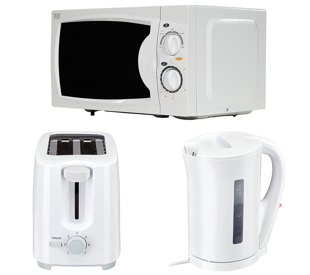 CURRYS ESS Solo Microwave, 2-Slice Toaster & Jug Kettle Bundle - White