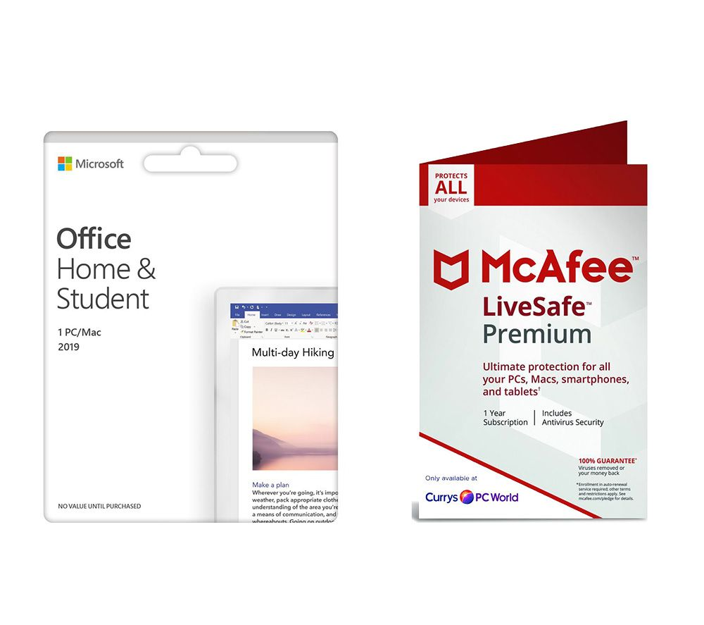 Office Home & Student 2019 (lifetime, 1 user) & McAfee LiveSafe Premium (unlimited devices, 1 year) Bundle