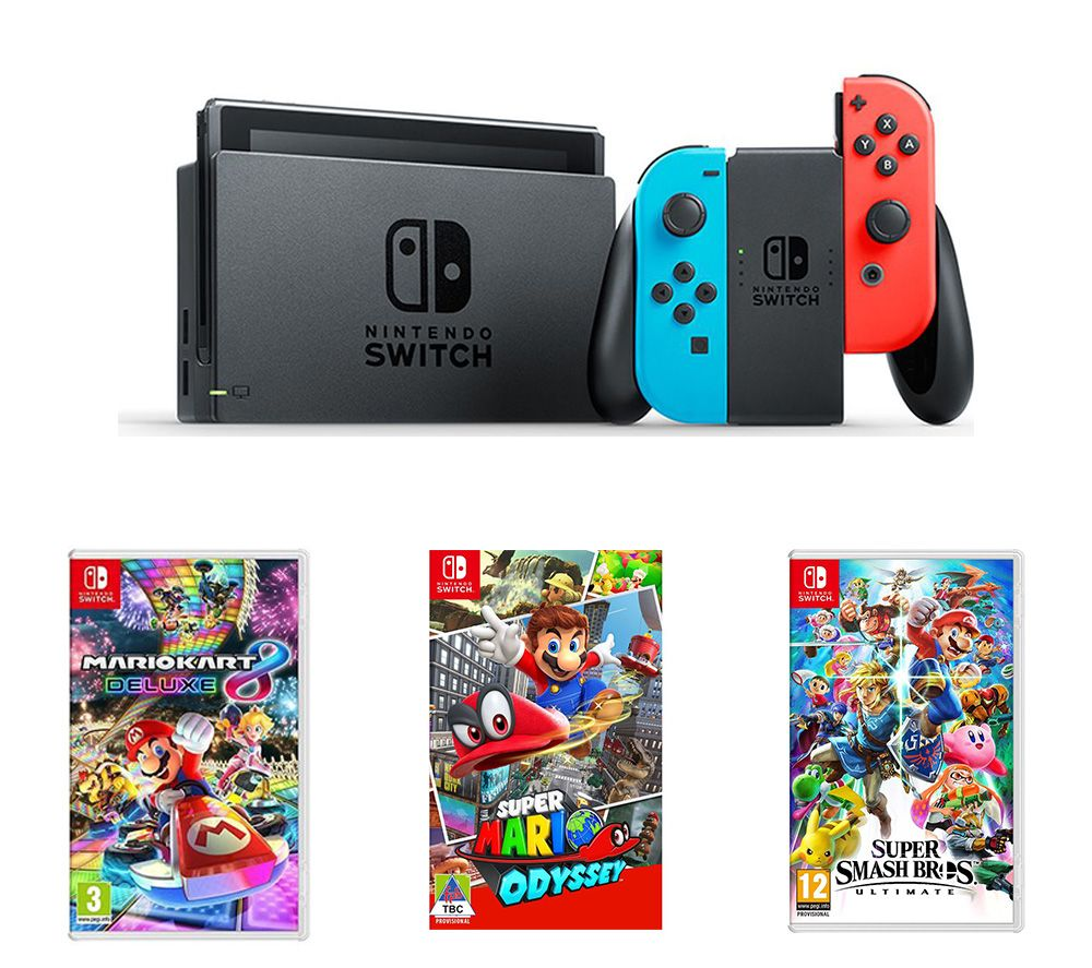 Image of NINTENDO Switch, Mario Kart 8, Super Mario Odyssey & Super Smash Bros Bundle, Neon