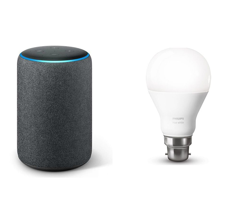 Image of AMAZON AMAZON Echo Plus (2018) & B22 Hue White Wireless Bulb Bundle, White
