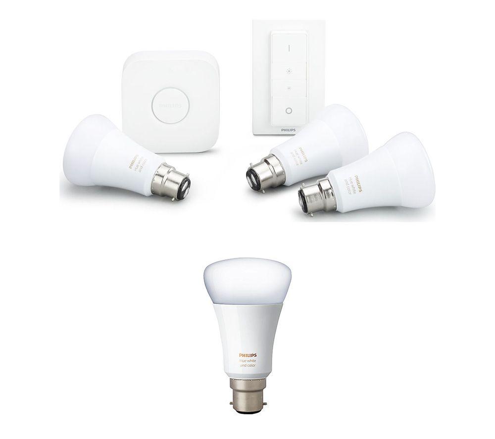 PHILIPS Hue A60 White & Colour Ambience B22 Starter Kit & B22 Wireless Bulb Bundle