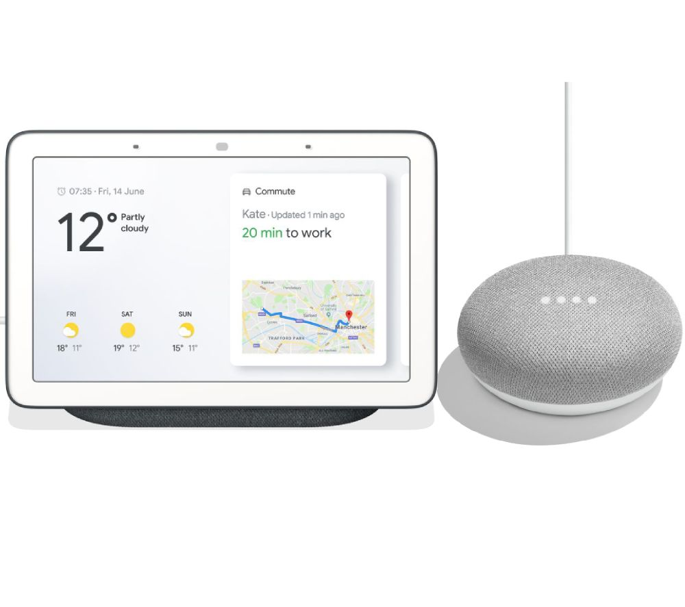 GOOGLE Home Hub & Home Mini Bundle - Charcoal & Chalk, Charcoal