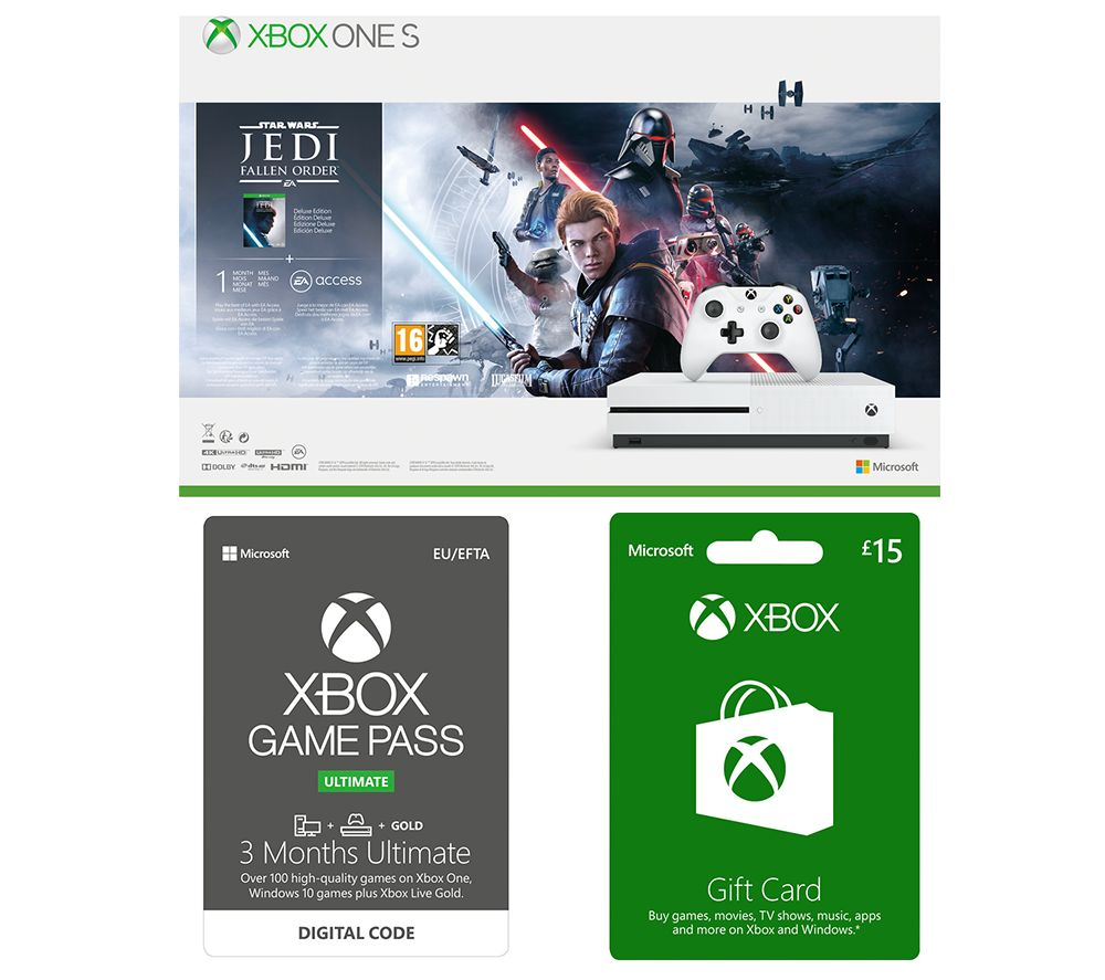 Image of MICROSOFT Xbox One S with Star Wars Jedi: Fallen Order, £15 Xbox Live Gift Card & 3 Months Xbox One Game Pass Ultimate Bundle - 1 TB, Gold