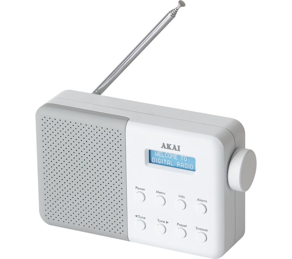 Image of AKAI A61041G Portable DAB Radio - White, White
