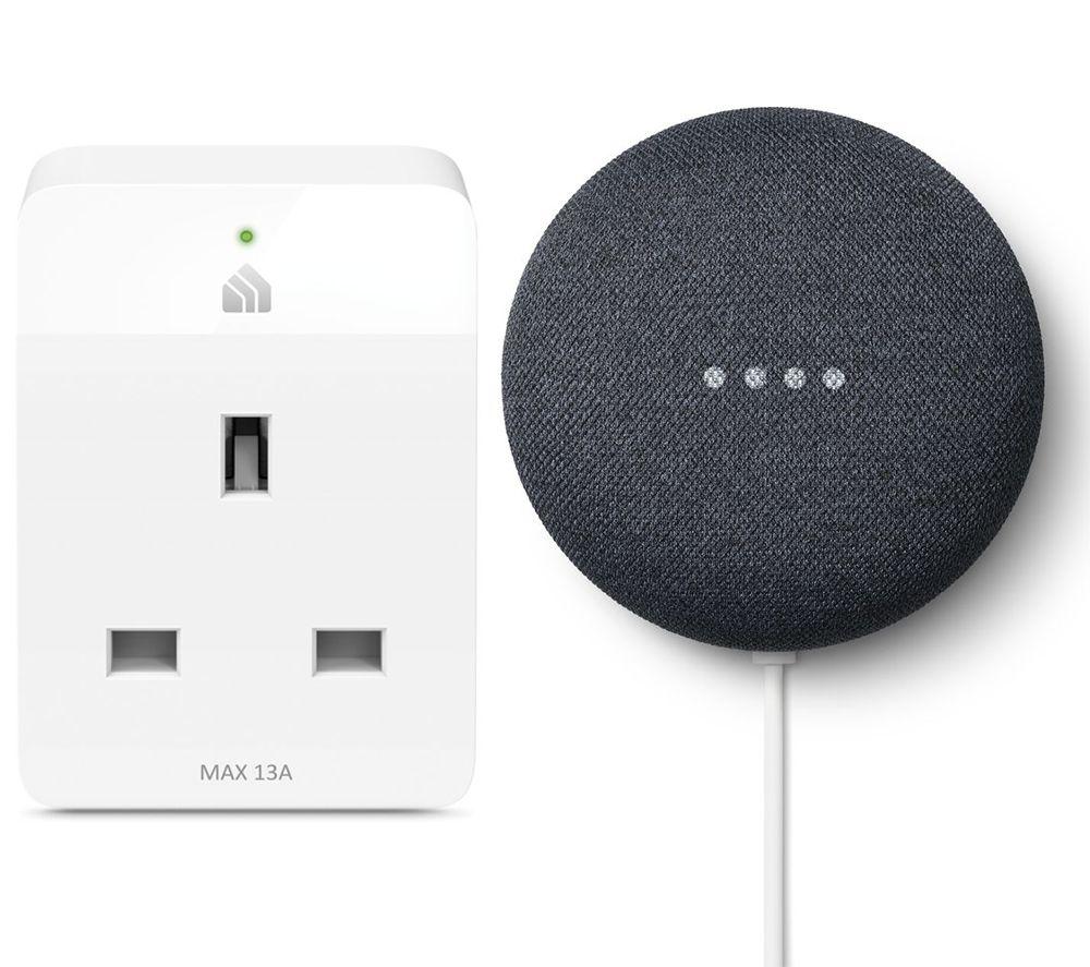 GOOGLE Nest Mini (2nd Gen) & Kasa KP105 Slim WiFi Smart Plug Bundle - Charcoal