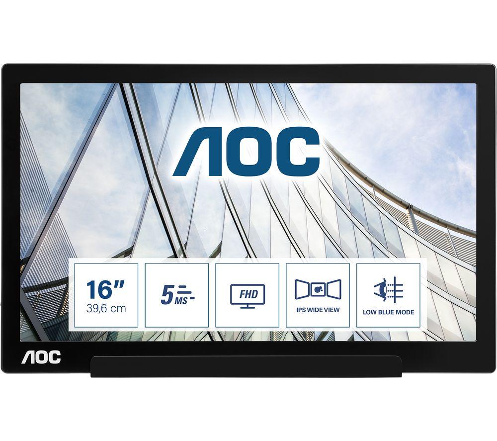 "AOC I1601FWUX Full HD 16"" LED Portable Monitor - Black"