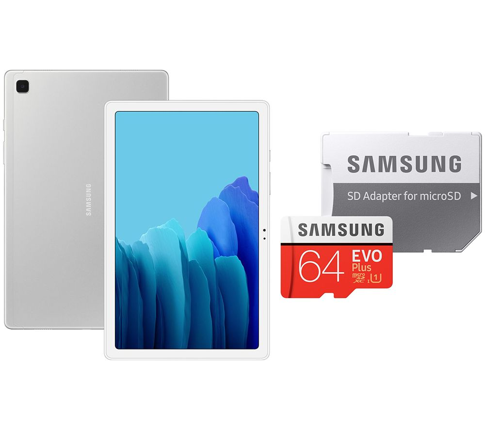 "Image of SAMSUNG Galaxy Tab A7 10.4"" Tablet & 64 GB microSD Memory Card Bundle - 32 GB, Silver, Silver"