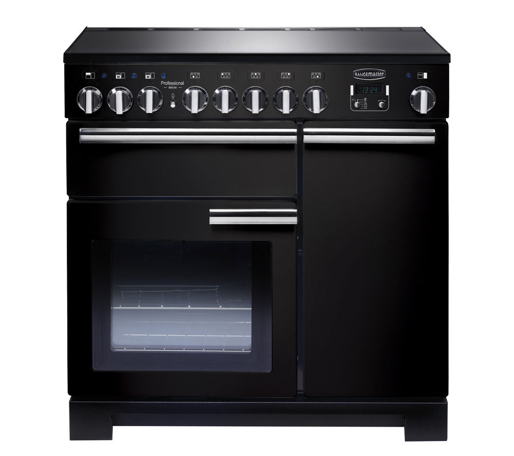 RANGEMASTER Professional Deluxe 90 Electric Induction Range Cooker - Black & Chrome