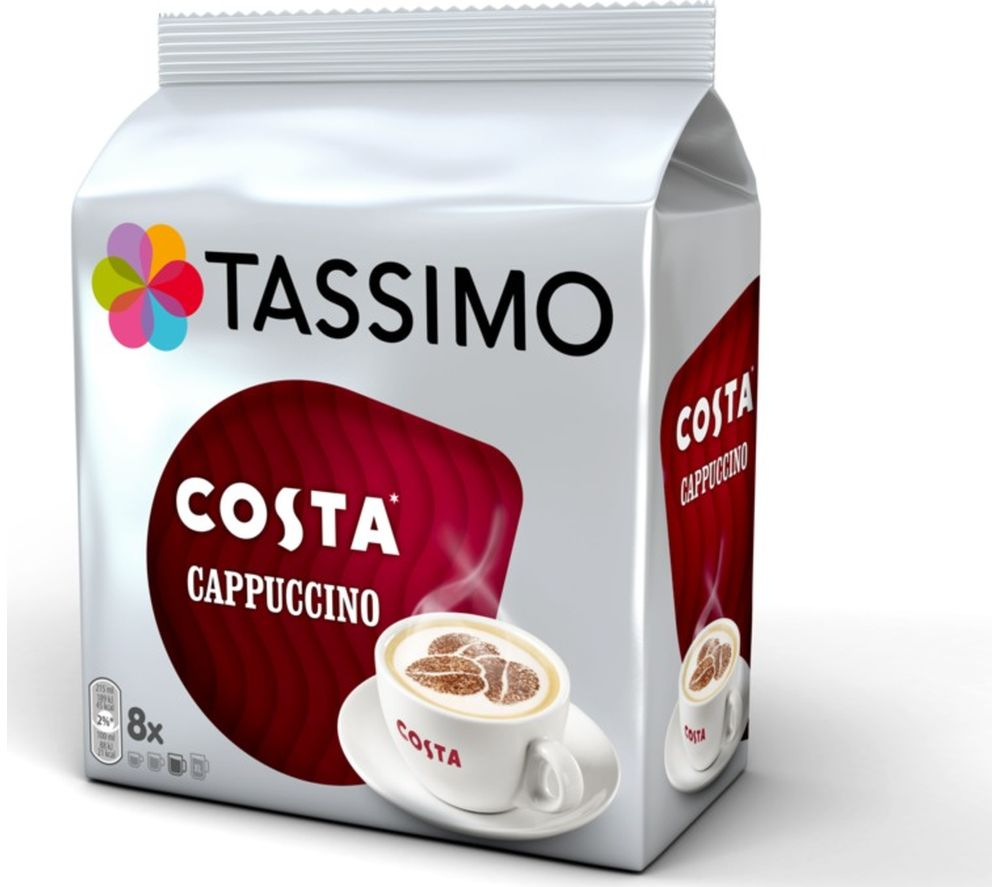 buy tassimo costa cappuccino t discs pack of 8 free delivery currys. Black Bedroom Furniture Sets. Home Design Ideas
