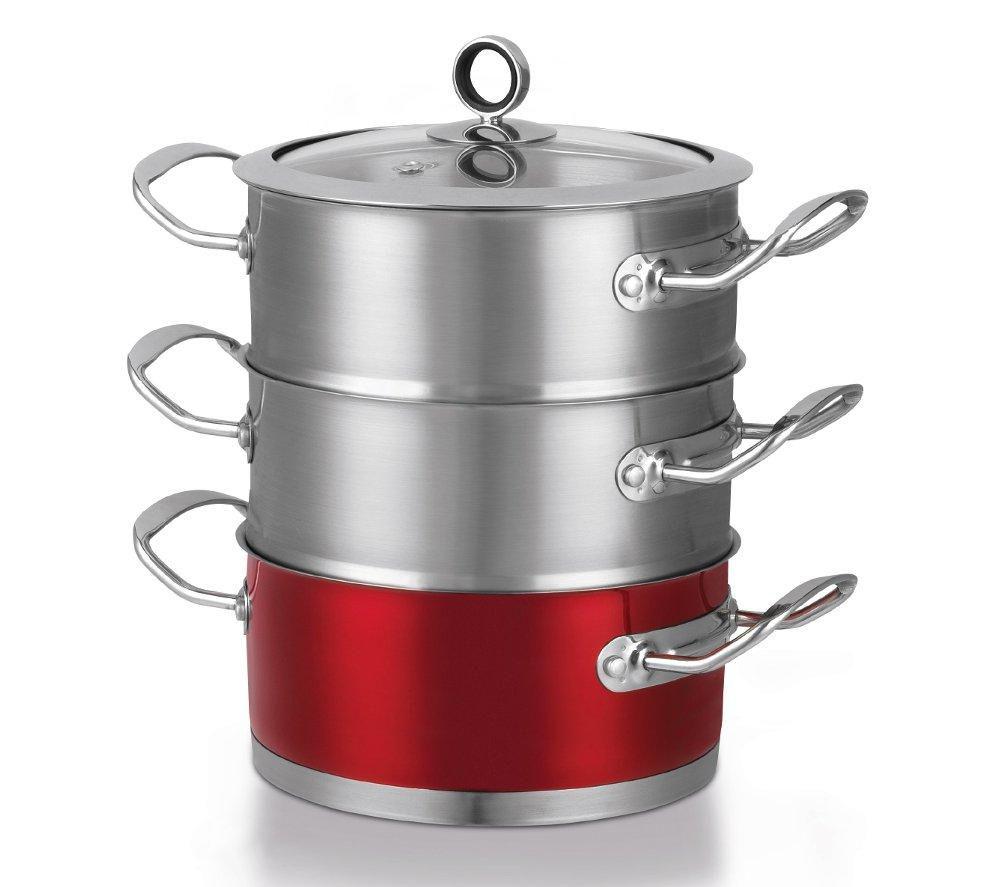 MORPHY RICHARDS 46381 18 cm 3-Tier Steamer - Red