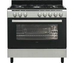 LOGIK LFTG90X17 90 cm Dual Fuel Range Cooker - Inox