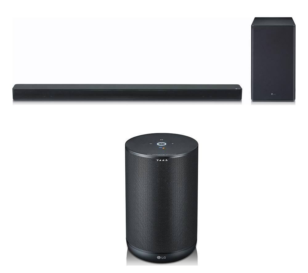 LG SK8 2.1 Wireless Soundbar with Dolby Atmos & ThinQ WK7 Voice Controlled Speaker Bundle - Black, B
