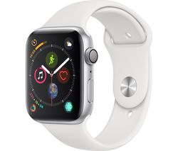 APPLE Watch Series 4 - Silver & White Sports Band, 44 mm
