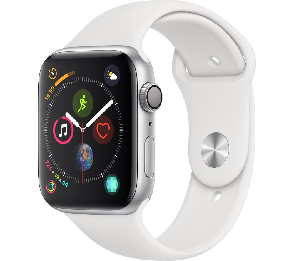 APPLE Watch Series 4 Silver White Sports Band 44 mm Silver cheapest retail price