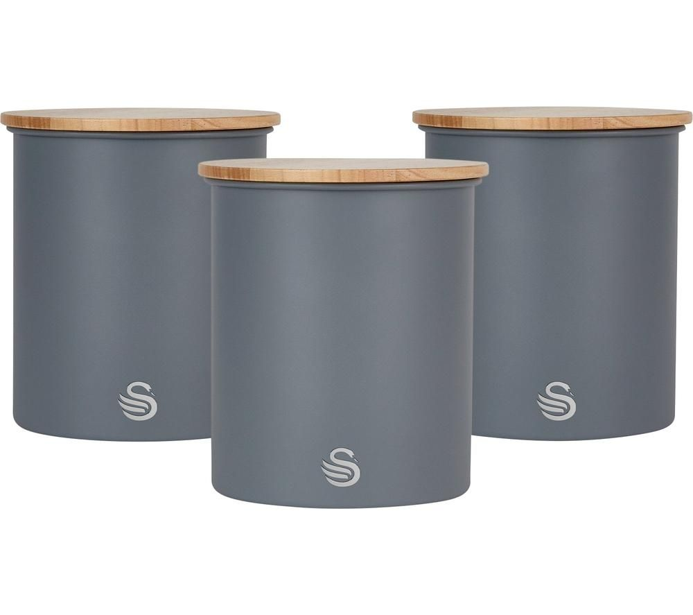 SWAN Nordic Set Round Storage Canister - Slate Grey, Pack of 3, Grey