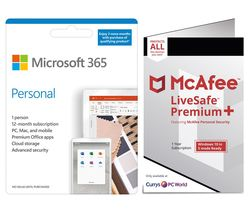 365 Personal & McAfee LiveSafe Premium 2020 Bundle - 1 year for 1 user + 3 Months Extra Time