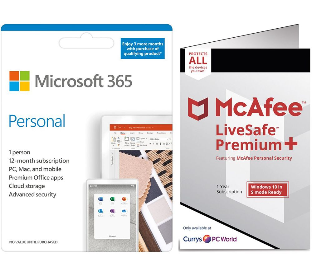 Image of MICROSOFT 365 Personal & McAfee LiveSafe Premium 2020 Bundle - 1 year for 1 user (+ 3 Months MICROSOFT 365 Extra Time)