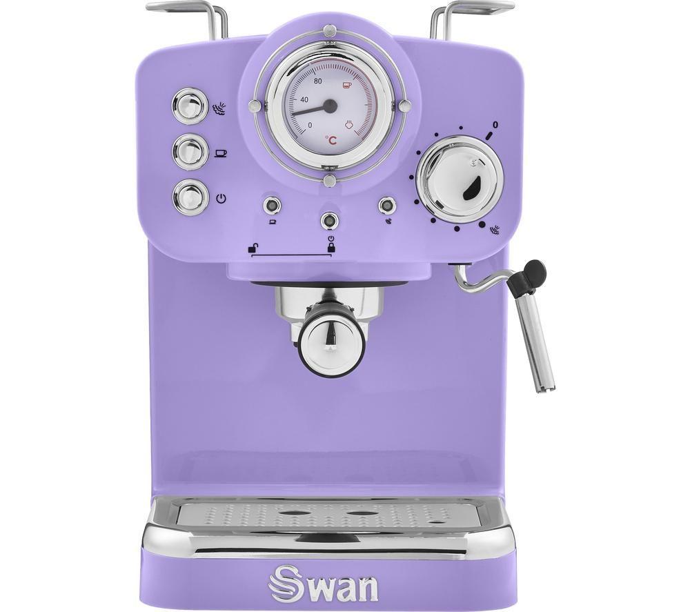 SWAN Retro Pump Espresso SK22110PURN Coffee Machine - Purple, Purple