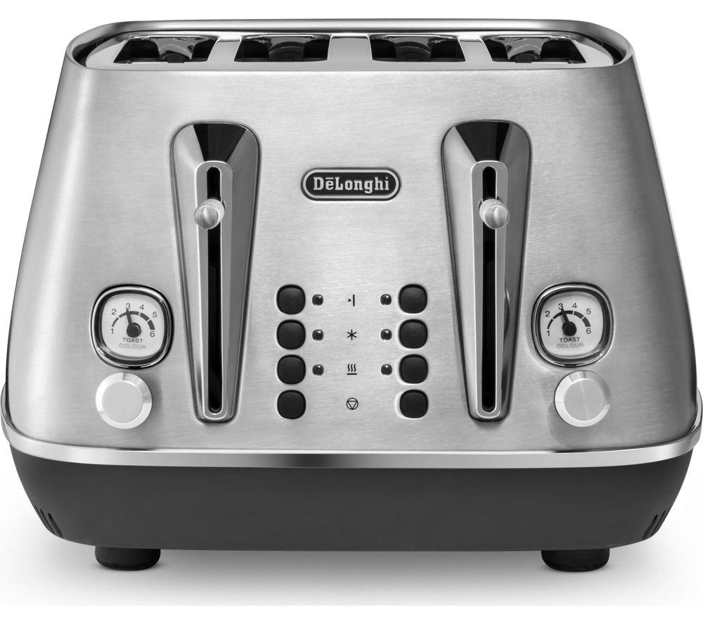 DELONGHI Distinta X CTI4003.M 4-Slice Toaster - Stainless Steel, Stainless Steel