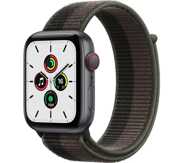 Image of APPLE Watch SE Cellular - Space Grey Aluminium with Tornado & Grey Sports Loop, 44 mm