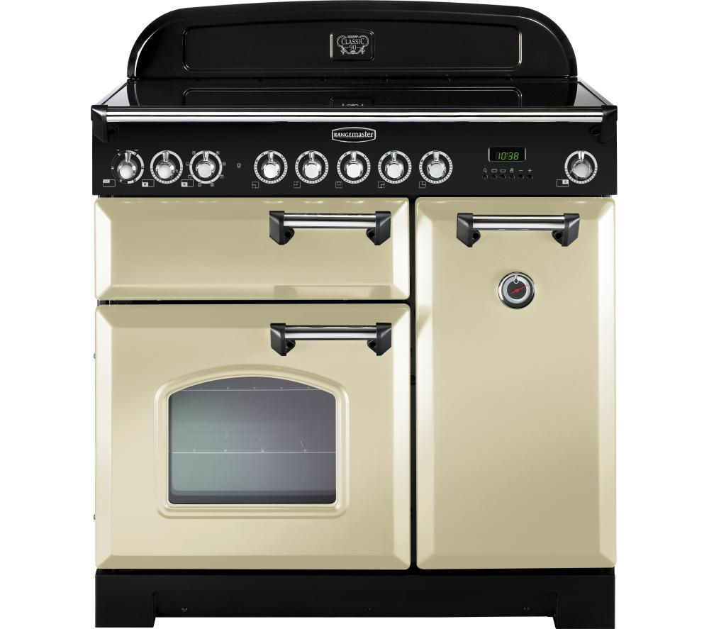 RANGEMASTER Classic Deluxe 90 Electric Ceramic Range Cooker - Cream & Chrome
