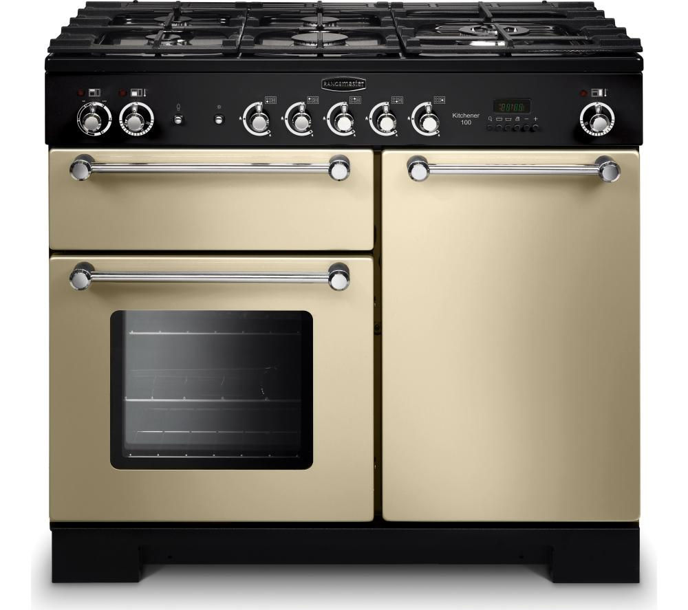 RANGEMASTER Kitchener 100 Dual Fuel Range Cooker - Cream & Chrome