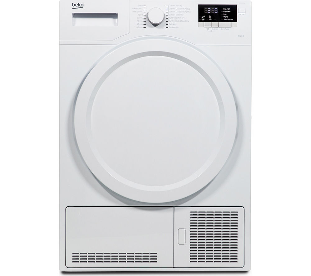 BEKO DCX83100W Condenser Tumble Dryer - White + DFS05X10W Slimline Dishwasher - White