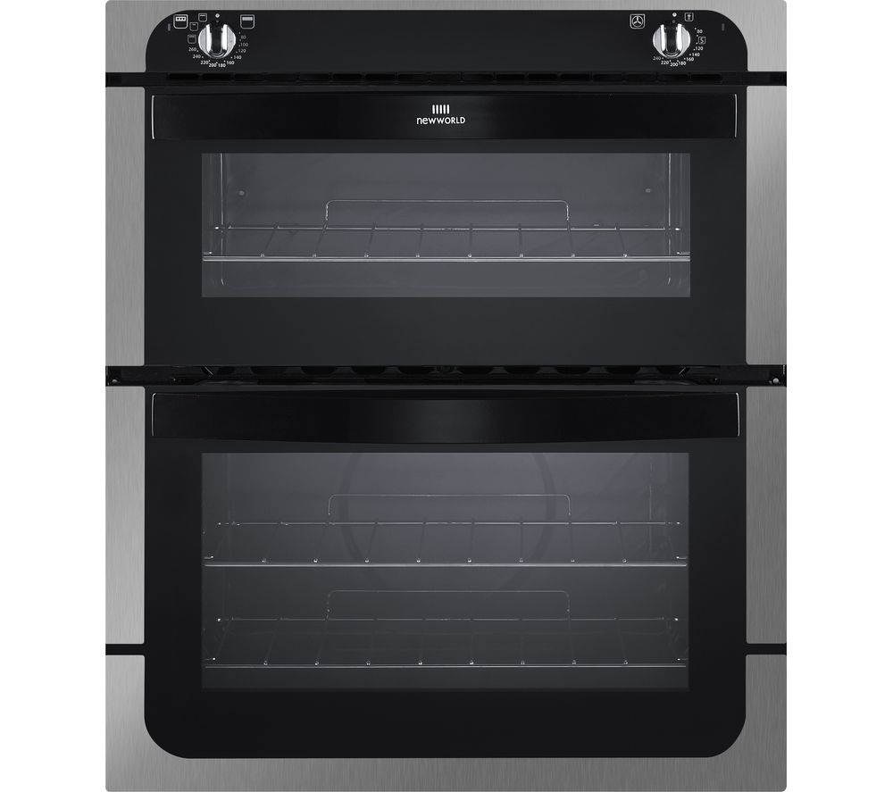 NEW WORLD NW701DO Electric Built-under Double Oven - Black & Stainless Steel
