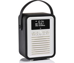 VQ Retro Mini Portable DAB+/FM Bluetooth Clock Radio - Black