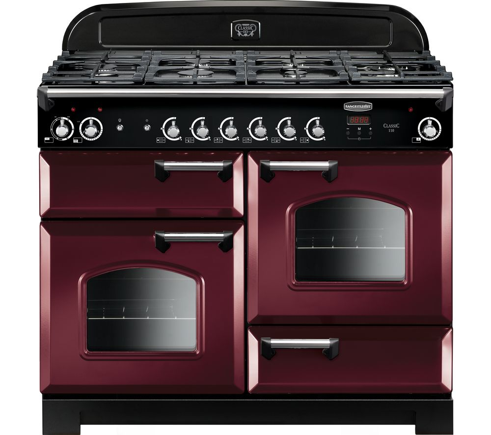 RANGEMASTER Classic CLA110DFFCY/C 110 cm Dual Fuel Range Cooker - Cranberry & Chrome