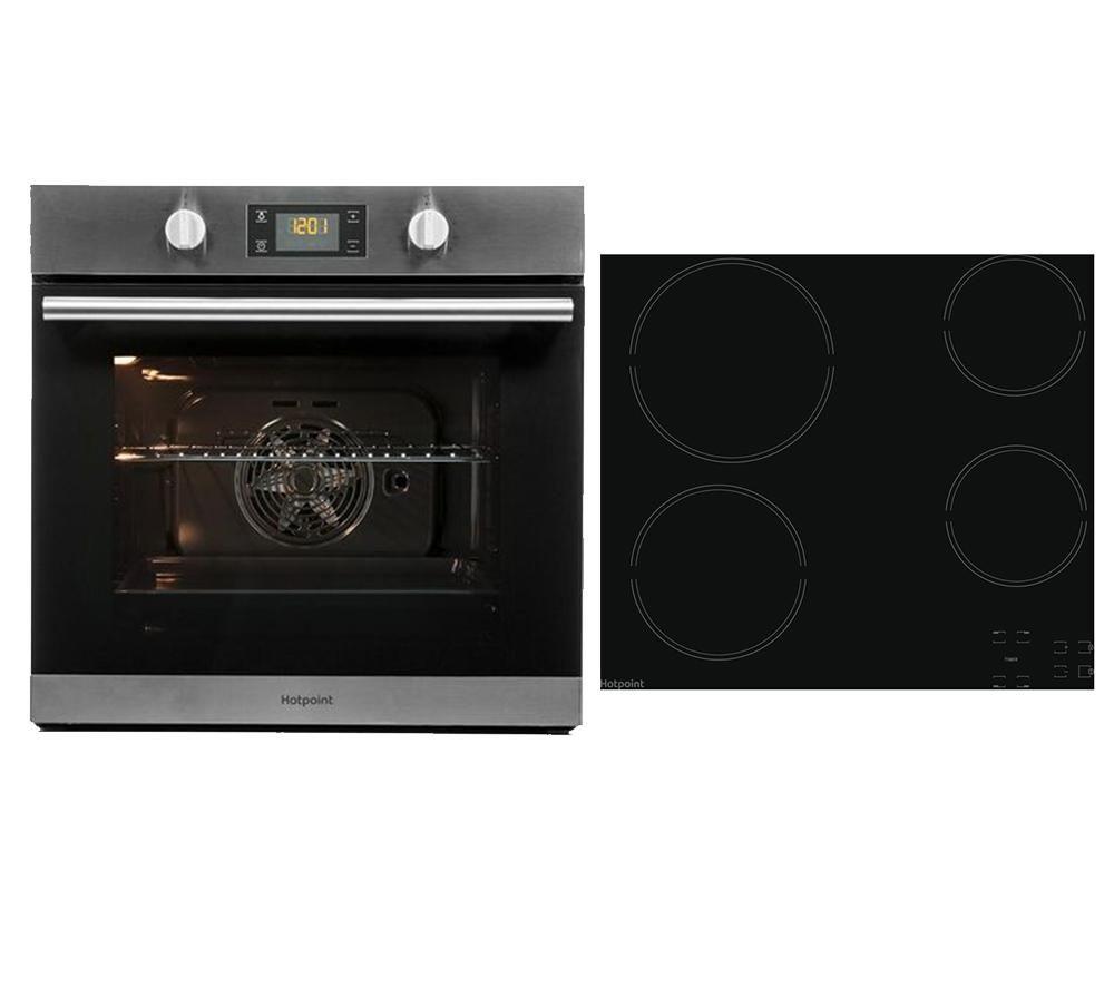 HOTPOINT Class 2 SA2 544 C IX Electric Single Oven & HR 651 C H Electric Ceramic Hob Bundle, Red