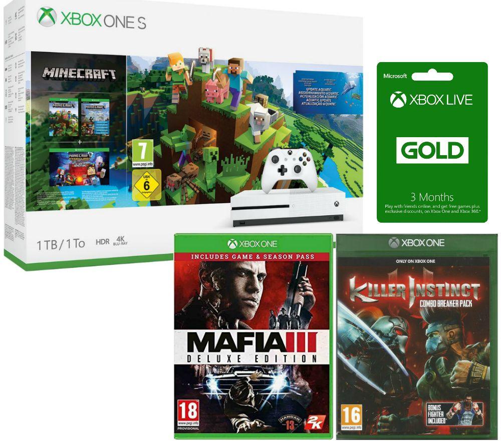 Image of MICROSOFT Xbox One S, Minecraft, Killer Instinct Combo Breaker Pack, Mafia III Deluxe Edition & Xbox LIVE Gold Bundle, Gold