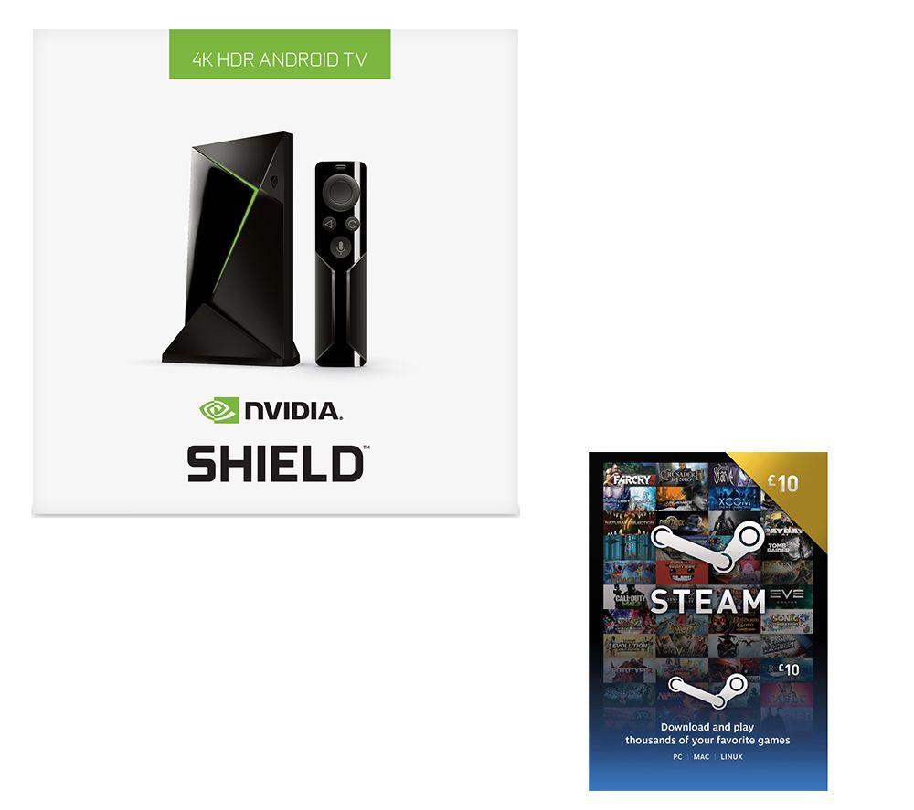 NVIDIA SHIELD 4K Media Streaming Device & £10 Steam Wallet Card Bundle - 16 GB
