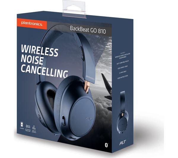 cb476693773 PLANTRONICS Back Beat Go 810 Wireless Bluetooth Noise-Cancelling Headphones  - Navy Blue