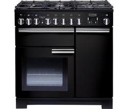 RANGEMASTER Professional Deluxe 90 Dual Fuel Range Cooker - Black & Chrome