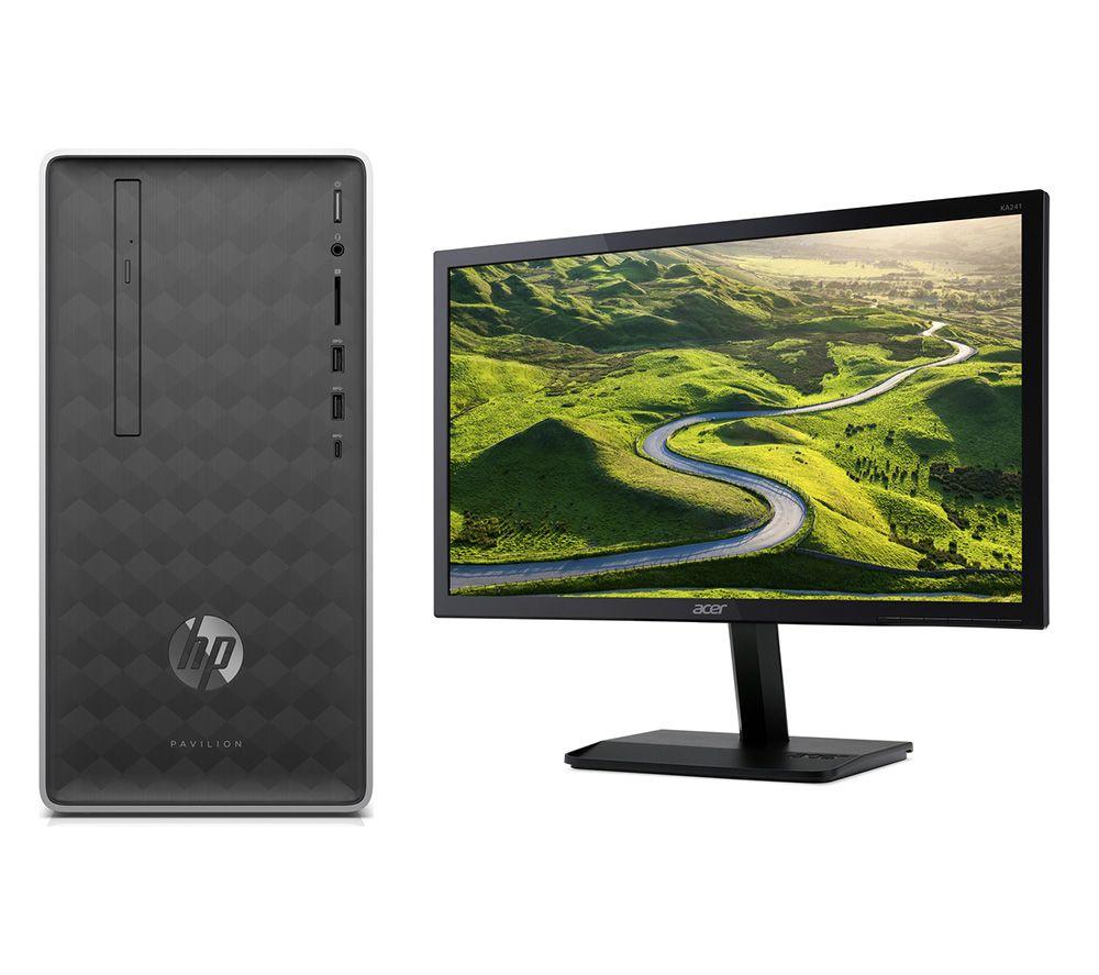 """HP Pavilion 590-a0005na Intel® Celeron® Desktop PC & KA241bid Full HD 24"""" LCD Monitor Bundle"""