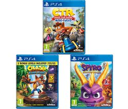 PS4 Crash Team Racing - Nitro-Fuelled, Crash Bandicoot N Sane Trilogy & Spyro Trilogy Reignited Bundle