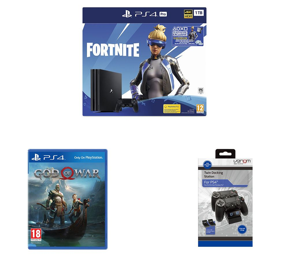 SONY PlayStation 4 Pro with Fortnite Neo Versa, Twin Docking Station & God of War Bundle, Red