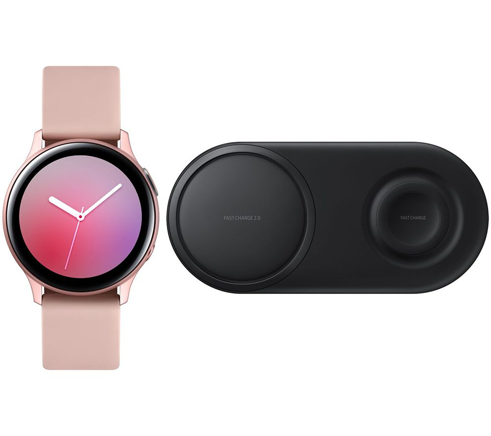 SAMSUNG Galaxy Watch Active2 & Black EP-P520 Qi Wireless Duo Charging Pad Bundle - Pink Gold, Aluminium, 40 mm