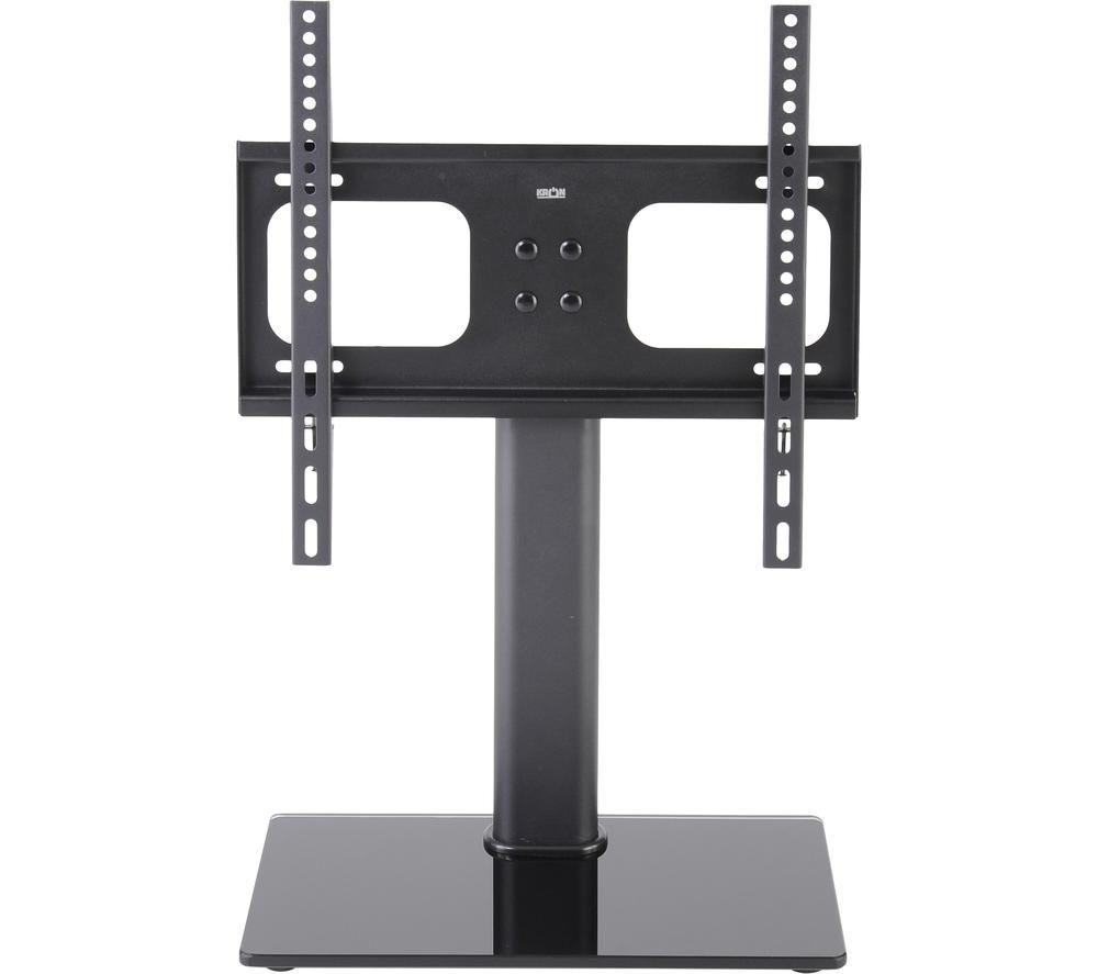 TTAP TT64F 550 mm TV Stand with Bracket - Black Glass & Metal, Black