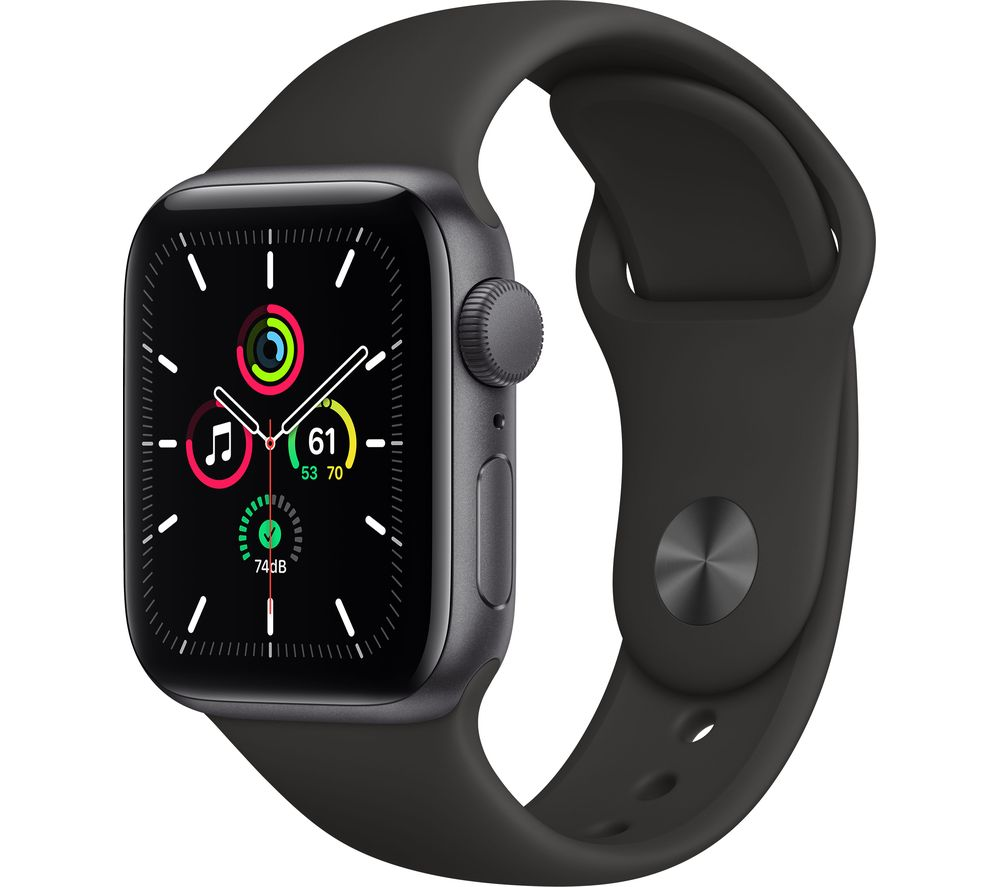 APPLE Watch SE - Space Grey Aluminium with Black Sports Band, 40 mm