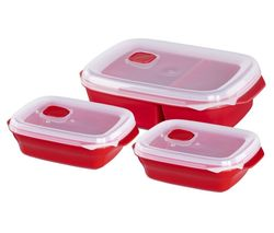 111463 Rectangular Food Storage Container Set – Red, Pack of 3