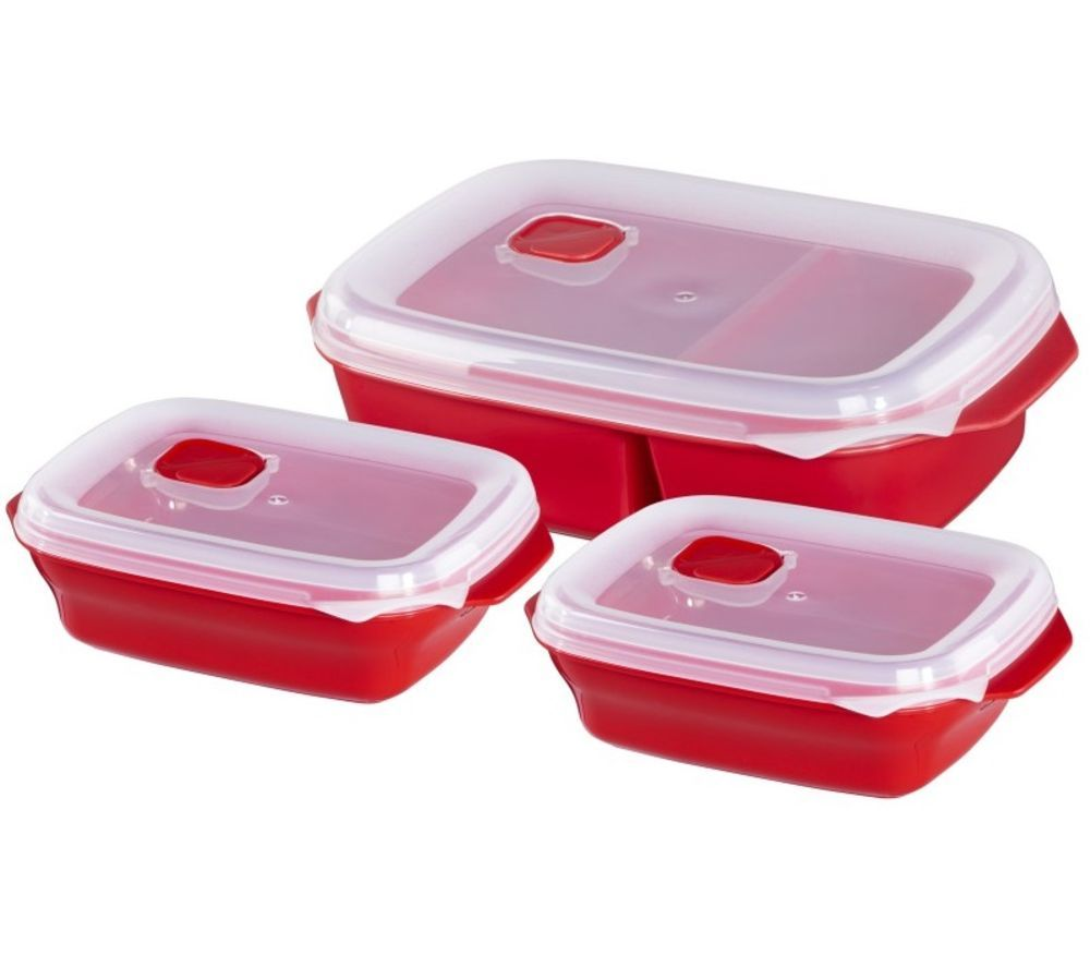 XAVAX 111463 Rectangular Food Storage Container Set – Red, Pack of 3