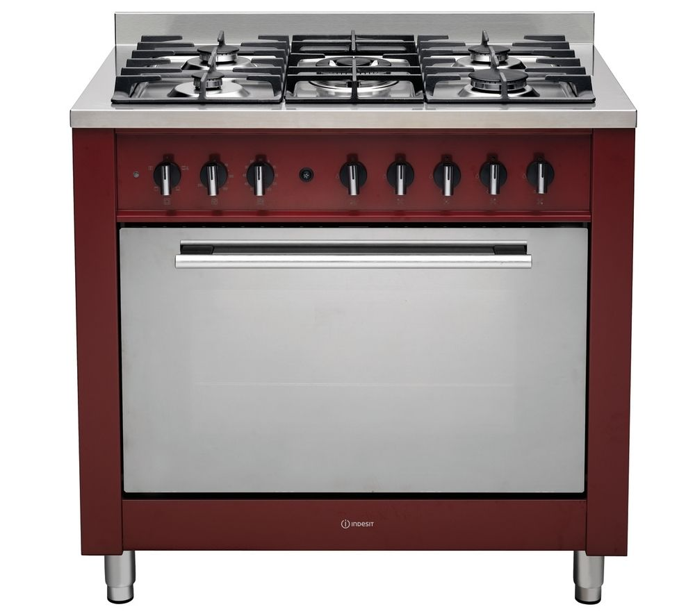 INDESIT KP9F11SRG Dual Fuel Range Cooker - Red, Red