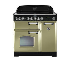 RANGEMASTER Classic Deluxe 90 Electric Ceramic Range Cooker - Olive Green & Chrome