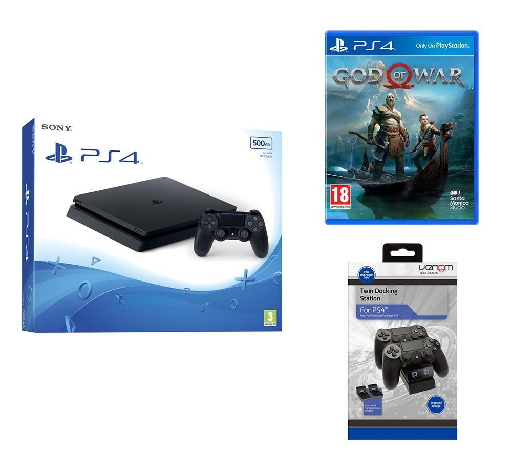PlayStation 4 Slim, God Of War & Docking Station Bundle, Red